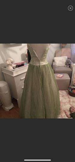 Riva designs Light Green Size 8 Sheer Sequin Spaghetti Strap Ball gown on Queenly