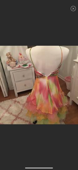 Custom Macduggal couture Multicolor Size 4 Rainbow Sequin Fun Fashion Spaghetti Strap Cocktail Dress on Queenly