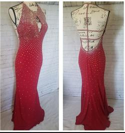 Jovani Red Size 6 Fitted Plunge Sequin Halter Ball gown on Queenly