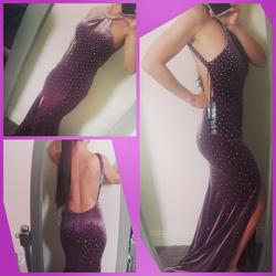 Jovani Purple Size 2 Plunge Sequin Train Halter Ball gown on Queenly
