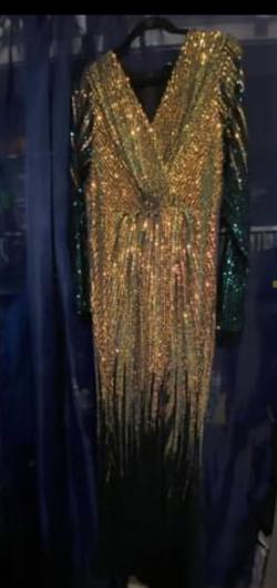 Fashion nona Multicolor Size 20 Gold Backless Shiny Sequin Side slit Dress on Queenly