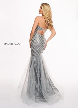 Style 6513 Rachel Allan Silver Size 4 Sweetheart Tulle Tall Height Mermaid Dress on Queenly