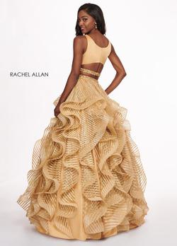 Style 6427 Rachel Allan Gold Size 6 Ruffles V Neck Tall Height Tulle Ball gown on Queenly