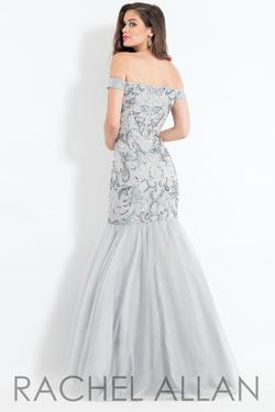 Style 6193 Rachel Allan Silver Size 4 Pattern Tulle Tall Height Mermaid Dress on Queenly