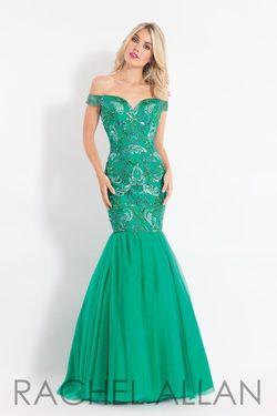 Style 6193 Rachel Allan Green Size 4 Emerald Pattern Tulle Tall Height Mermaid Dress on Queenly