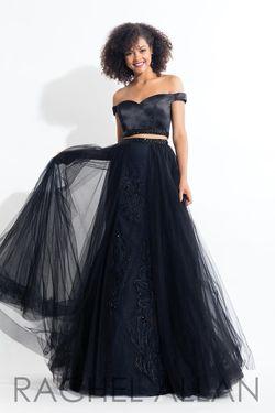 Style 6198 Rachel Allan Black Size 4 Silk Two Piece A-line Dress on Queenly