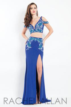 Style 6018 Rachel Allan Blue Size 4 Cap Sleeve V Neck Tall Height Side slit Dress on Queenly