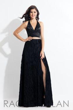 Style 6145 Rachel Allan Black Size 16 Side slit Dress on Queenly