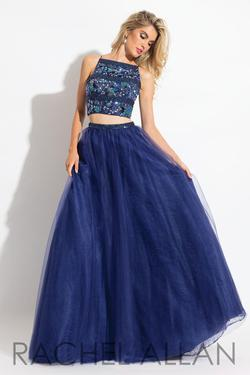 Style 6036 Rachel Allan Blue Size 8 Beaded Top Tall Height Tulle Halter A-line Dress on Queenly