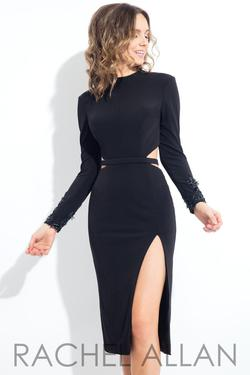 Style L1087 Rachel Allan Black Size 4 Homecoming Sorority Formal Tall Height Cocktail Dress on Queenly