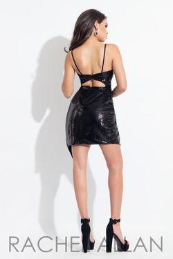 Style L1143 Rachel Allan Black Size 2 Sorority Formal V Neck Mini Bodycon Cocktail Dress on Queenly