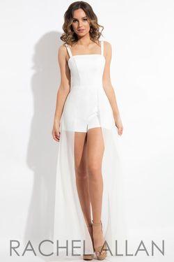 Style L1095 Rachel Allan White Size 4 Overskirt Jumpsuit Dress on Queenly