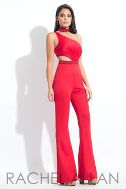 Style L1161 Rachel Allan Red Size 4 Interview Jersey Tall Height Jumpsuit Dress on Queenly