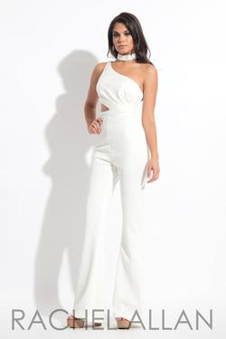Style L1161 Rachel Allan White Size 4 Tall Height One Shoulder Flare Jumpsuit Dress on Queenly