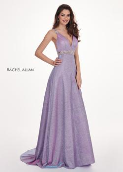 Style 6547 Rachel Allan Purple Size 12 Pageant V Neck Tall Height Tulle A-line Dress on Queenly