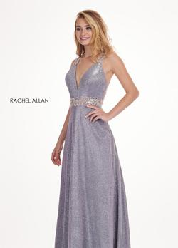 Style 6547 Rachel Allan Silver Size 18 Pageant V Neck Tall Height Tulle A-line Dress on Queenly