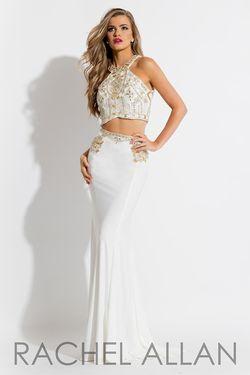 Style 7569 Rachel Allan White Size 4 Two Piece Mermaid Dress on Queenly