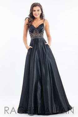 Style 7531 Rachel Allan Black Size 4 Pockets V Neck Tall Height Spaghetti Strap Ball gown on Queenly