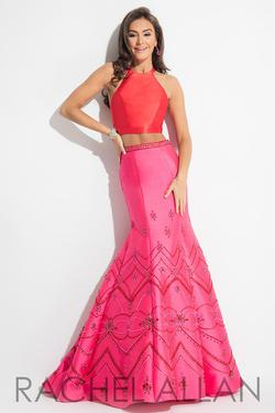 Style 7502 Rachel Allan Red Size 6 Two Piece Hot Pink Mermaid Dress on Queenly