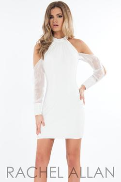 Style L1118 Rachel Allan White Size 4 Sorority Formal High Neck Cocktail Dress on Queenly
