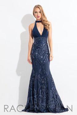 Style 6190 Rachel Allan Blue Size 12 Plunge Tall Height Sequin Halter Mermaid Dress on Queenly