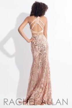Style 6190 Rachel Allan Gold Size 4 Jewelled Sequin Blue Mermaid Dress on Queenly