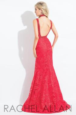 Style 6106 Rachel Allan Red Size 16 Embroidery Mermaid Dress on Queenly