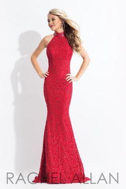 Style 6067 Rachel Allan Red Size 6 Halter Mermaid Dress on Queenly