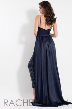Style 6062 Rachel Allan Blue Size 12 Jersey Tall Height Jumpsuit Dress on Queenly