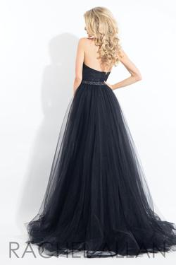 Style 6004 Rachel Allan Black Size 8 Tulle Strapless Overskirt Ball gown on Queenly