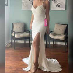 Jovani White Size 4 Sorority Formal Train Spaghetti Strap Straight Dress on Queenly