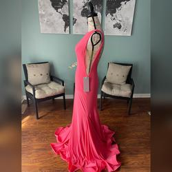 Jovani Pink Size 0 V Neck Sheer Train Mermaid Dress on Queenly
