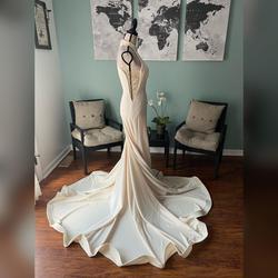 Jovani White Size 8 Pageant Wedding Halter Mermaid Dress on Queenly