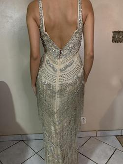 Mac Duggal Silver Size 6 Fitted Tall Height Straight Dress on Queenly
