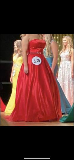 Sherri Hill Red Size 12 Pageant Belt A-line Dress on Queenly