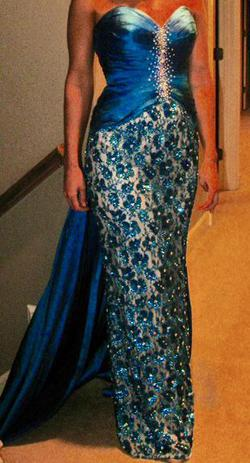 Style custom made Sherri Hill Blue Size 2 Tall Height Lace Train Dress on Queenly