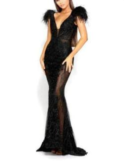Scarlett and Portia  Black Size 4 V Neck Sheer Straight Dress on Queenly