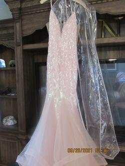 Rachel Allen Pink Size 6 V Neck Tulle Mermaid Dress on Queenly