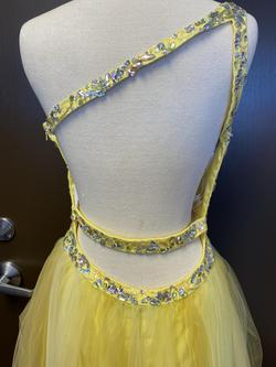 Party Time Formal Yellow Size 8 Homecoming Studded Tulle One Shoulder A-line Dress on Queenly