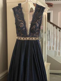 Jovani Blue Size 0 V Neck Sheer A-line Dress on Queenly