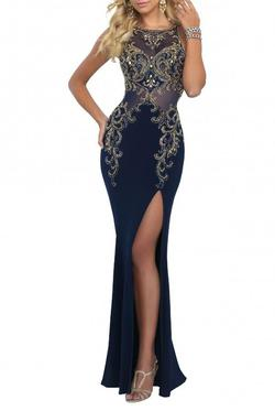 Style 11038 Blush Prom  Blue Size 2 Sheer Embroidery Straight Dress on Queenly