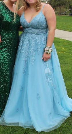 Sherri Hill Light Blue Size 16 Pageant Mini Ball gown on Queenly