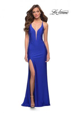 La Femme Blue Size 10 Pageant Plunge A-line Dress on Queenly