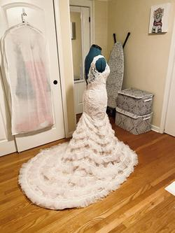 Galina Signature White Size 6 Plunge Lace Ruffles Mermaid Dress on Queenly