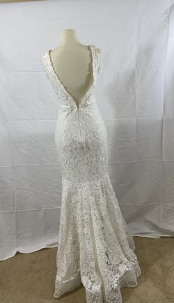 Jovani White Size 6 V Neck Wedding Mermaid Dress on Queenly