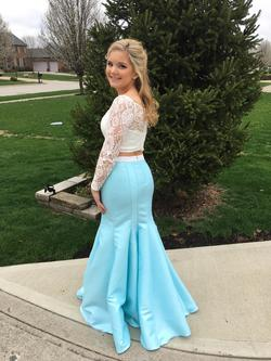 Tiffany Designs Blue Size 8 Prom Sheer Mermaid Dress on Queenly