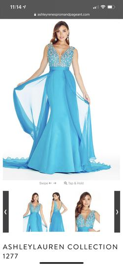 Ashley Lauren style 1277 Blue Size 2 Pageant Mermaid Dress on Queenly
