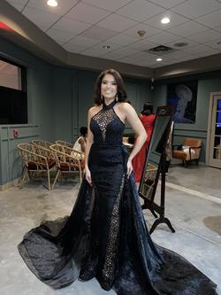 Fernando Wong Black Size 4 Sheer Train Halter Mermaid Dress on Queenly