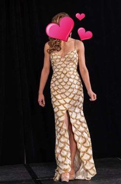 Jovani Gold Size 6 Sequin Spaghetti Strap Train Dress on Queenly
