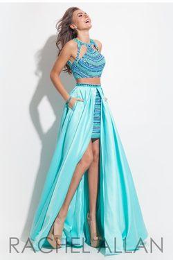 Style 7074RA Rachel Allan Blue Size 2 Fun Fashion Halter Light Green Cocktail Dress on Queenly